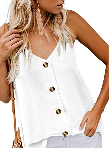 - Roshop Womens Button Down V Neck Loose Sleeveless Strappy Cami Tank Tops Casual Shirts Blouses (X-Small(4-6), White)