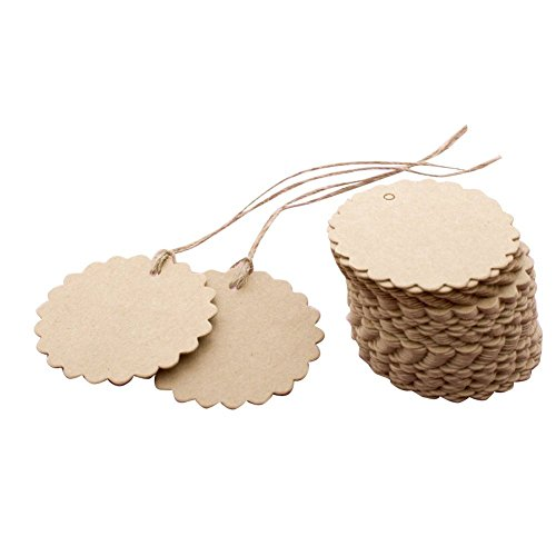 Punch Scalloped Tag (Eforstore Scalloped Wedding Brown Kraft Paper Tag Lolly Bag Bonbonniere Favor Gift Tags With Jute Twines)
