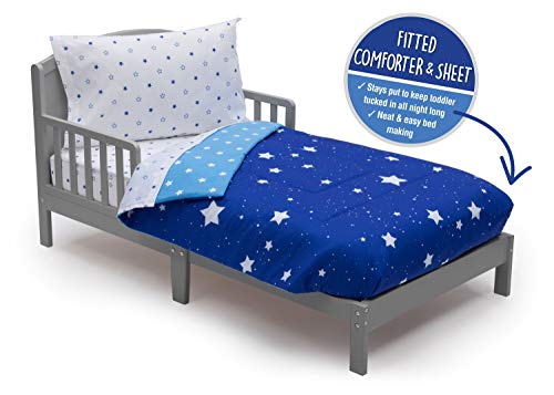 Toddler Bedding Set | Boys 4 Piece Collection | Fitted Sheet, Flat Top Sheet w/Elastic Bottom, Fitted Comforter w/Elastic Bottom, Pillowcase | Delta Children | Boys Starry Night | Blue Stars