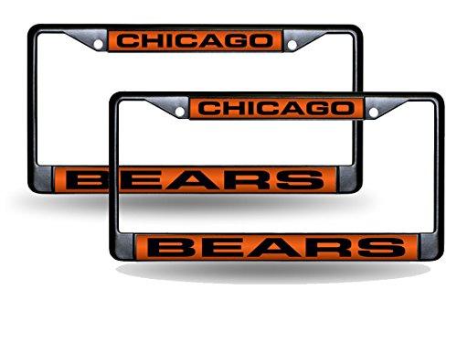Rico Chicago Bears Black Metal (2) Laser License Plate Frame Set