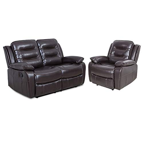 HomeMiYN Sectional Home Theater Loveseat Seating Sofa Chair PU Leather Manual Recliner Motion for Wood Frame Home ()