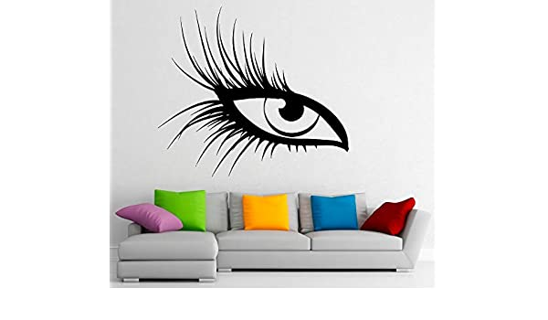 Oeil vinyle Stickers muraux Hot Sticker fille Salon de beauté cils ...