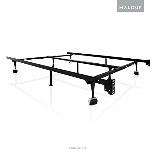 structures by malouf heavy duty 9 leg adjustable metal bed frame with center support and rug rollers universal king cal king queen full twin xl