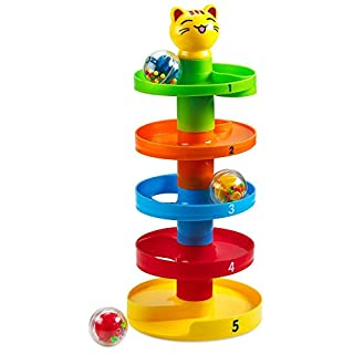 Memtes Drop and Roll Swirl Ball Ramp Toy for Babies