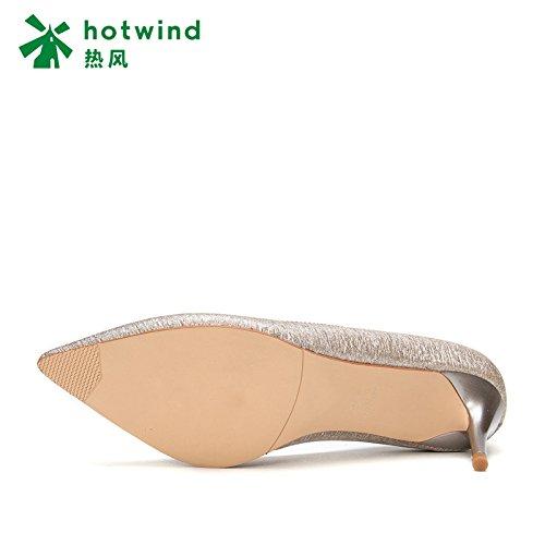 con da da bassa da tendenza con primaverile bocca Sandali a donna 34 donna scarpe tacchi Argento eleganti a punta spillo DHG donna UwZaxS