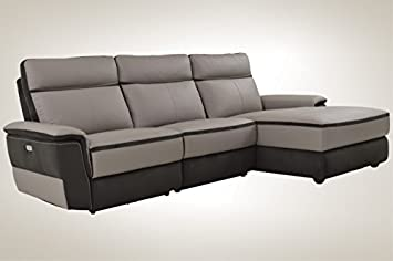 Superb Homelegance Laertes Two Tone Power Reclining Sofa With Right Side Chaise Top Grain Leather Fabric Match Light Grey Ncnpc Chair Design For Home Ncnpcorg