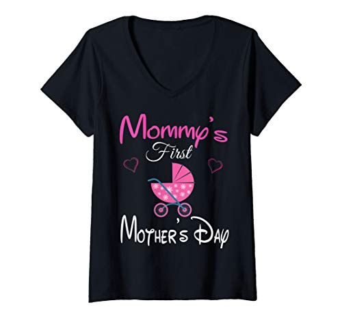 Womens Funny Mommy's first mother's day pink stroller & Heart Mom V-Neck T-Shirt