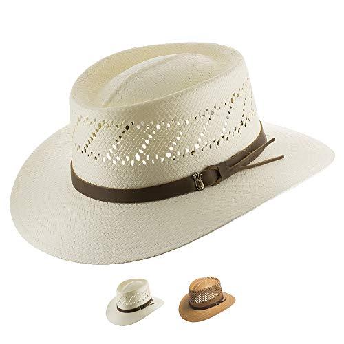 Ultrafino Monte Carlo Golf Airway Vented Gambler Straw Hat Off-White 7 1/4