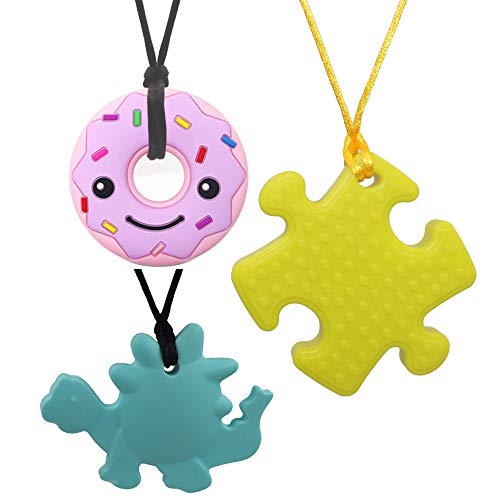 Chew Necklace for Baby Boys Girls, 3 Pack Silicone Donut Dinosaur Puzzle Pendant Teething Necklace, Chewy Jewelry Toys for Autism or Oral Motor Special Needs BPA Free