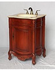 "24"" Wood Single Sink Cherry Bown Bathroom Vanity with Ivory Beige Marble Top and Sink"