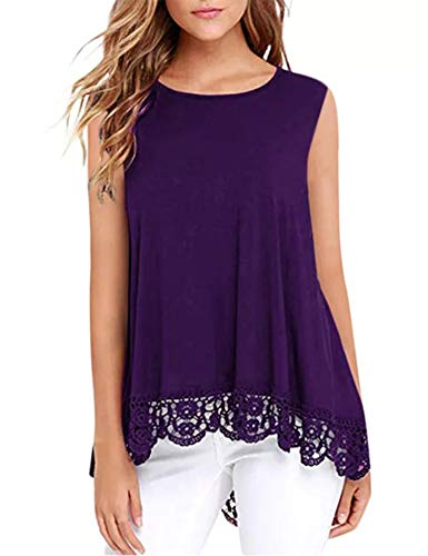 DOSWODE Womens Tops Sleeveless Lace Trim O-Neck A-Line Tunic Blouse Shirts Purple S