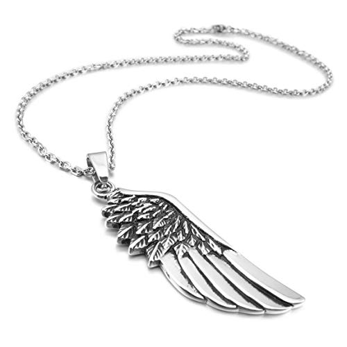 INBLUE Men's Stainless Steel Pendant Necklace Silver Tone Feather Angel Wing -With 23 Inch Chain