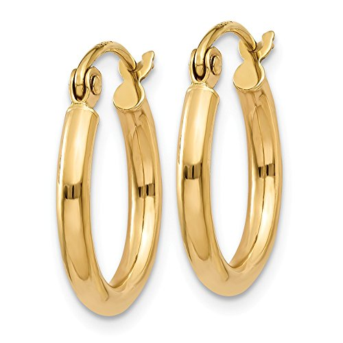 """Gold Hollow Hoops (Designs by Nathan, Classic 14K Yellow Gold Tube Hoop Earrings: Seamless, Hollow, and Lightweight (Regular 2mm x 15mm (about 9/16"""")))"""