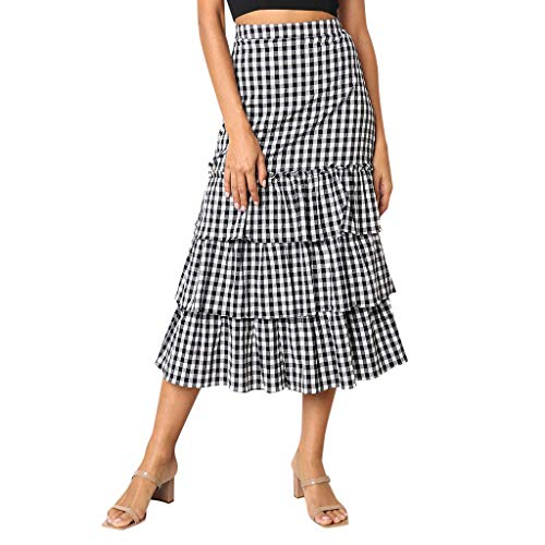 (RIUDA Women's Sweet Plaid Printing Party Elastic Waist Tulle Ruffles Mesh Long Tiered Skirt Black)