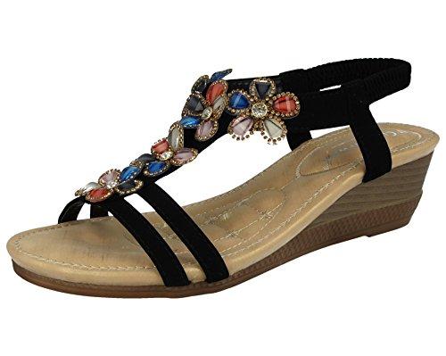 Ladies Cushion Walk T-Bar Jewel Multi Flower Sling Back Low Wedge Peep Toe Summer Sandals Size 3-8 Black RdQE4Gr