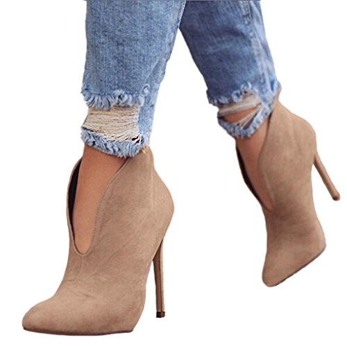 Hiver Sexy Boots Mode L'Automne Heels Chaussures Bottes Minetom Printemps Hauts Kaki High Talons Casual Bootie Femmes qUgIwvpB
