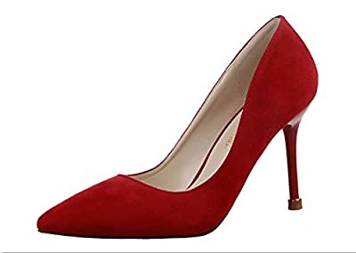 Ryse Women's Fashionable Simple Suede Delicate Temperament Thin High Heels Pointy Shoes