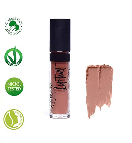 PuroBIO Certified Organic Intense and Long-Lasting Matte Liquid Lipstick with Cocoa Butter, Calendula Silica, Rice - Color 02 BRIGHT ORANGE . Vegan. Nickel Tested. Made in Italy, 4ml