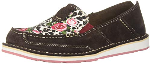 (Ariat Women's Women's Cruiser Moccasin, Chocolate chip Suede/Leopard Roses, 6 B US )
