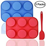 6-Cup Silicone Muffin Mold Bonus with Spatula, DaKuan 3 pcs Pack o fMuffin Mold and Spatula Set, Non-Stick Baking Pan, Flexible, Cupcake Pans, Dishwasher, Oven, Microwave Oven Safe. Blue + Red