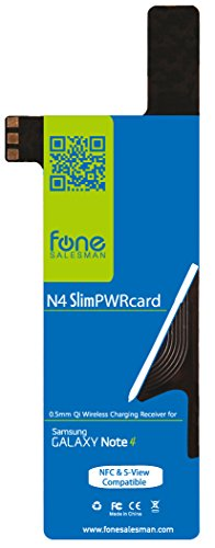 - N4 SlimPWRcard - 0.5mm Ultra Thin Qi Receiver Card Module for Samsung Galaxy Note 4 with Integrated NFC Coil and Compatible with S-View Cover, Recommended to use with QiStone+ & WoodPuck or KoolPad