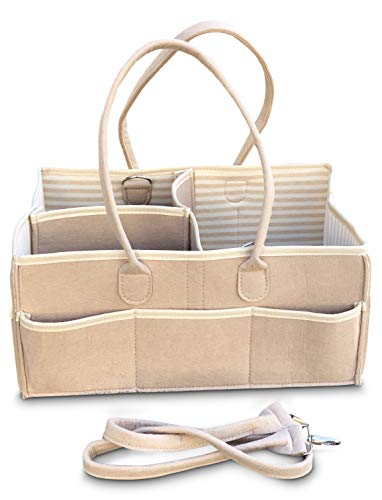 Baby Diaper Caddy Organizer Bag -Organic Cotton Lining |Perfect Hold & Stacker Essential for Changing Station Table | Tan Unisex Storage Basket Ex Large-Shoulder Strap-3 dividers Registry Must Have