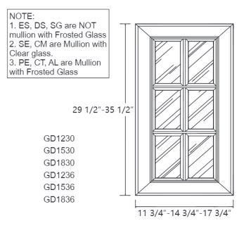 Cabinet Champ Glacier Mullion Door with Frosted Glass (Mullion Doors)