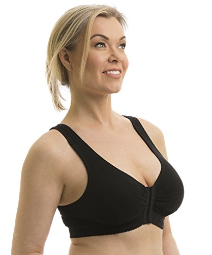 Carole Martin Full-Freedom Front Closure Wireless Cotton Bra-38 Black (Best Bra After Augmentation)