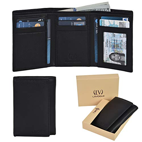 (Genuine Leather RFID Blocking Slim Trifold Wallet for Men with 7 Cards+1 ID Window+2 Note Compartments (Nappa Black) )