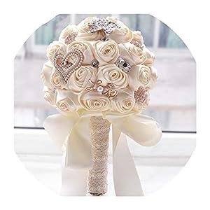8 Colors Wedding Flowers Bridal Bouquets Artificial Wedding Bouquet Crystal Sparkle with Pearls 2019 buque de Noiva 54