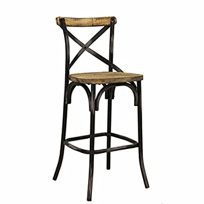 Design Tree Home Rustic Crossback Reclaimed Pine Bar Stool