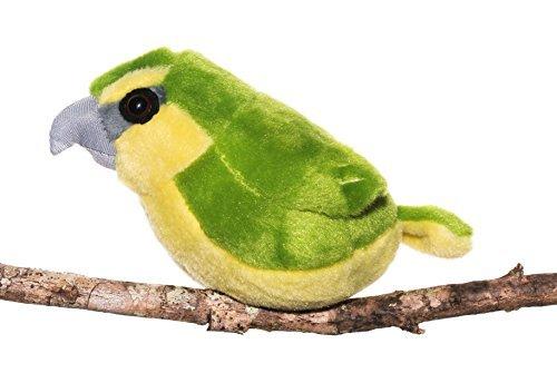 Maui Parrotbill- Audubon Plush Bird (Authentic Bird Sound) (Green Bird Plush)