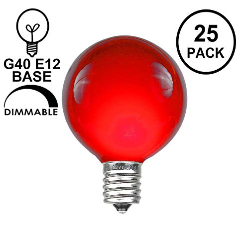 Novelty Lights 25 Pack G40 Outdoor Globe Replacement Bulbs, Red, C7/E12 Candelabra Base, 5 Watt