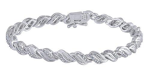 0.25 CT White Natural Diamond Women's Bracelet In 14k White Gold Over Sterling (0.25 Ct Diamond Bracelet)
