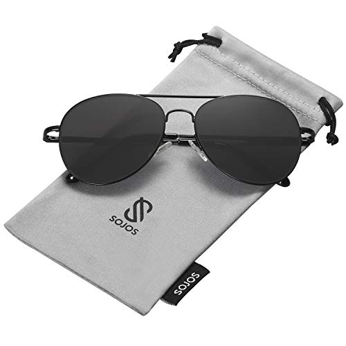 SOJOS Classic Aviator Mirrored Flat Lens Sunglasses Metal Frame with Spring Hinges SJ1030 with Black Frame/Grey Lens (Black Aviator Sunglasses For Men)