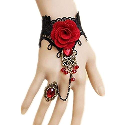 - MACHEE Red Rhinestone Rose Lace Bracelet Retro Gothic Style Vampire Slave Bangle Fancy Hand Chain Costume