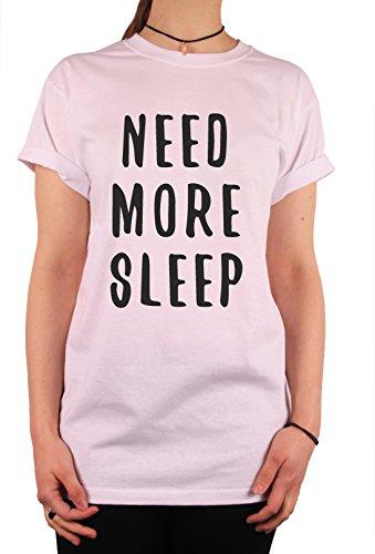 """TheProudLondon Need More Sleep"""" Unisex T-shirt (Large, White)"""