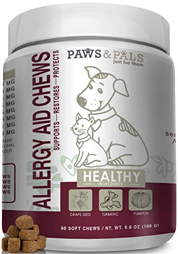 Paws & Pals Allergy Immune Supplement Aid for Dog & Cats- Antioxident Seasonal and Itchy Relief Treats for Pets with Omega-3, Digestive Prebiotic & Probiotics - 90 Count
