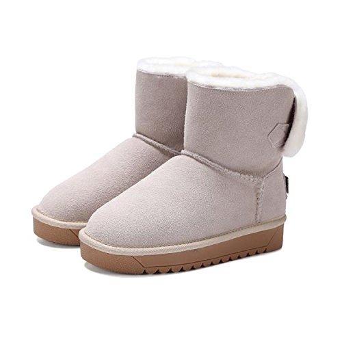 120W 120W dell'arco donne 36 stivali delle GRAY neve di di cotone pelle inverno stivali di rotonde NSXZ t7fXq6wx