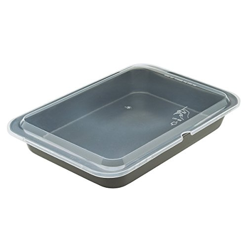"Steel Dessert Line (Ecolution Bakeins Cake Pan with Lid – PFOA, BPA, and PTFE Free Non-Stick Coating – Heavy Duty Carbon Steel – Dishwasher Safe – Gray – 13"" x 9"" x 1.875"" (Without Lid))"