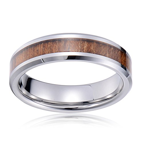 Tiitc Wedding Band Ring Tungsten Carbide Ring Real Koa Wood Inlay Beveled High Polisfed Edge Comfort Fit 6mm (6.5) by tiitc (Image #1)