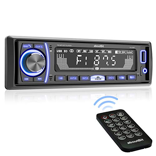 Mechless Multimedia Car Stereo – aboutBit Single Din LCD Car Radio,Bluetooth Audio Calling,Built-in Microphone,FLAC/MP3,RGB Light,Aux-in,AM FM Radio Receiver
