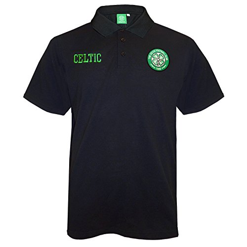 Celtic Football Club Official Soccer Gift Mens Crest Polo Shirt Black (Soccer Club)
