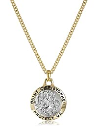 """Sterling Silver """"Two-Tone"""" Round St Christopher Medal, 20"""""""