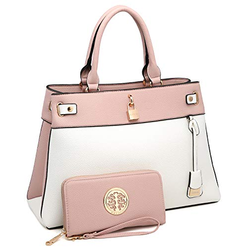 MMK Fashion women's Handbag~ Pad Lock Satchel handbag Top soft vegan Leather Tote bag Hobo purse for Ladies (E-8015-(PK/WT)) ()