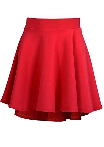 Junior Red High Low Hem Scuba Skater Skirt