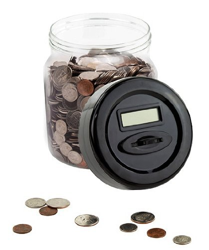 Automatic Digital Money Counting Jar / Coin Counting Jar - Digital Piggy Bank with LCD Screen Black Colored