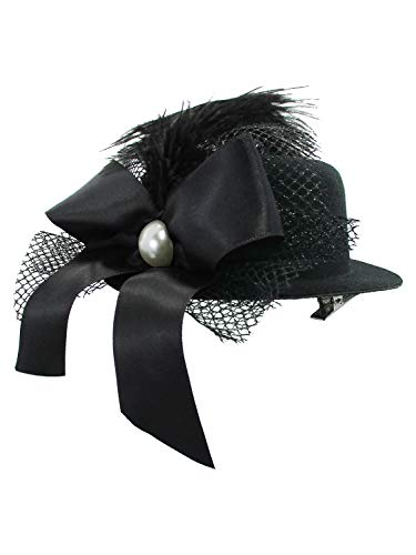 Mini Top Hat Fascinator Hair Clip Bow Feather Pearl Dancers Burlesque Showgirl Black - Steampunk Pearl
