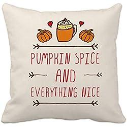 Pumpkin Spice Fall Halloween Home Decor Throw Pillow Cover Cotton Polyester Cusion Case 18 x 18 Inches