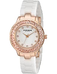 Akribos XXIV Womens AK781WTR Crystal Baguette Quartz Movement Watch with White Mother of Pearl Dial and Ceramic...